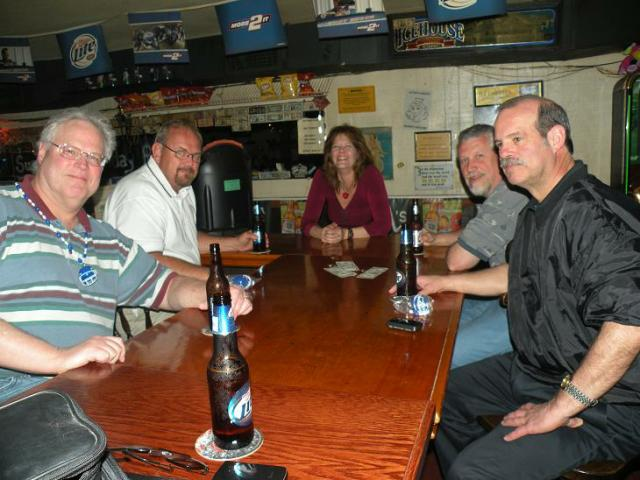 Here are the Geezers at the Saloon in Homosassa with Leah, the Singing Bartender.