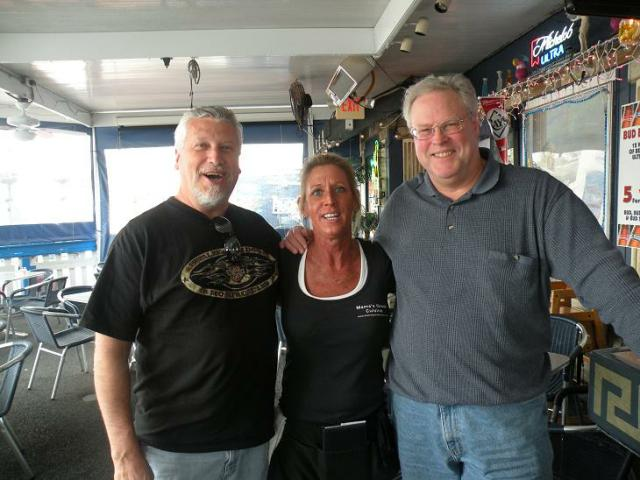 Here are Swish (L), and Dougie with Nadine, another bartender we met at Mamma's, another Greek restaurant in Tarpon Springs. This was the deck bar where we met Michelle,  one of our former Bartenders of The Month for April 2007.