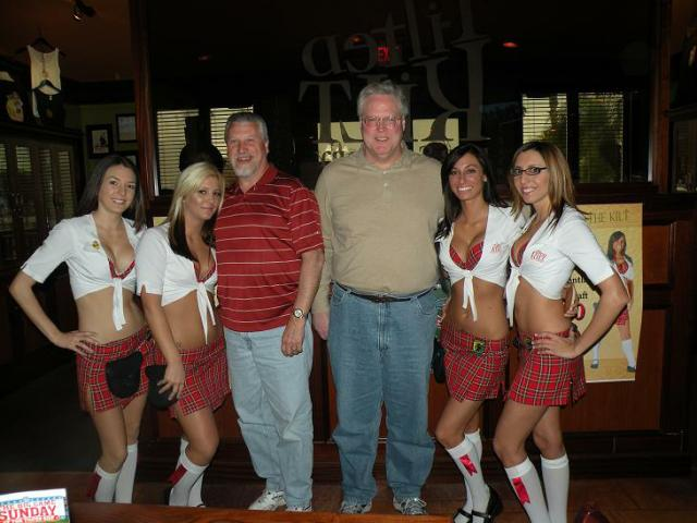 Here is another pic of the lovely waitresses at the Tilted Kilt posing with Swish, and Dougie taken on Super Bowl Sunday 2010. Our waitress, Meghan, is the blonde 2nd from the left. It is a great franchised Sports Bar. Look Online for locations.