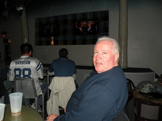 Here is Fergie who came down to the Beach from Clearwater. He was seated at the same table. They had HD TV's, and a Big Screen hanging from the wall. We saw it all!