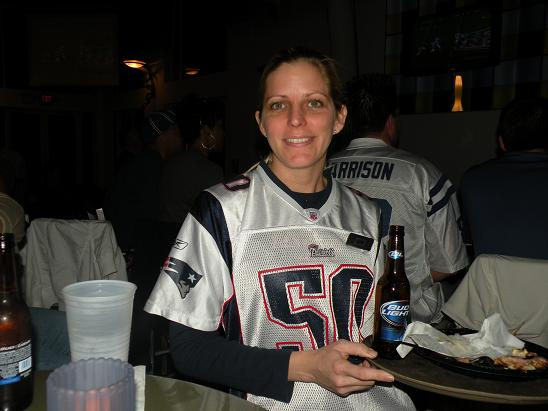 This was our waitress at Shephard's in Clearwater Beach for the Super Bowl party. They have 3 bars at this hotel where we stayed for 4 nights. Julia was also our waitress out at the Tiki Bar on the deck. Because of the cool weather the party was held at the Wave Nightclub where we were.