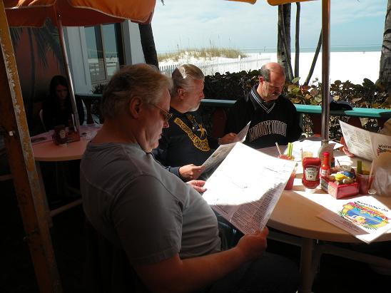 Here is a shot out on the deck at Frenchy's Rockaway Grill on the Beach. This is one of our fave Florida stops.