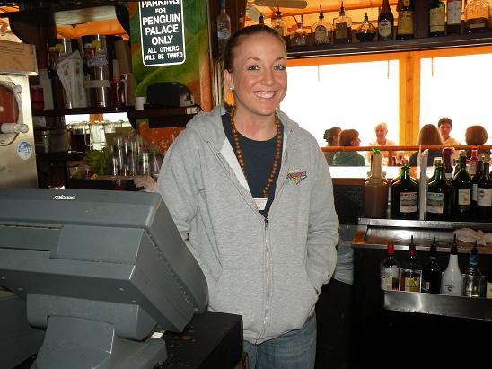 Kerri was our bartender at Frenchy's Rockaway Grill on Clearwater Beach. We walked IN THE RAIN from our hotel to one of our fave places. Kerri reluctantly let us a take a pic after we promised that we wouldn't put her head on a naked girl or a monkey.