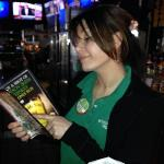 One of our favorite bartenders, Mandy, picking out something healthy for us to order!