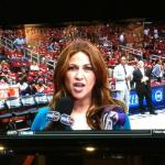 The Cavs playoff game against the Atlanta Hawks came on TV at 8:30. This is Rachel Nichols, TNT Sideline reoprter for the game. I think that she looks like our good friend Donna Miner who has a daughter Rachel.