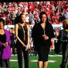 Here are some Queen Divas singing the National  Anthem. The woman on the far right  is DARLENE LOVE. Not sure of the others. RIRCH UNDERWOOD is going to give me hell for not naming then!