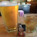 My nitecap. A short cold Miller Lite draft beer and a Jack on  the Rocks. The pic on the  lighter is Marilyn of course!