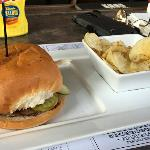 As I mentioned in the August  5 Newsletter, Billy Bob, The Drumstir, and Forester all ate the Sliders from the Happy Hour Menu. I ordered the Shooting Star burger. It was very good and filling.