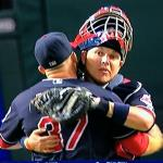 Here is catcher Roberto Perez giving Allen a congratulatory bear hug for his 23rd save.