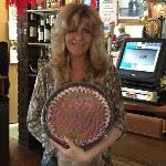 Bartender Karen celebrated her Birthday on our Geezers Nite out on October 21, 2015. Here she is holding the Big Cookie that Spike got her to celebrate the Big Day.